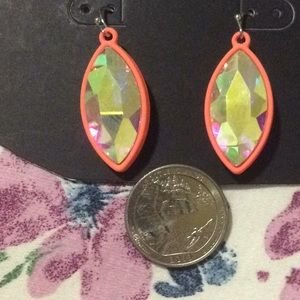 AB Crystal Earrings Pierced dangle Nwot sparkly